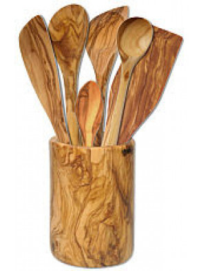 Quiver with 6 pcs accessories olive wood, art. no. 14215