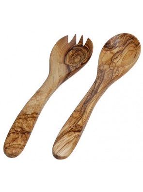 Salad servers olive wood, ca. 25 cm (9.8 ''), art. no. 14109
